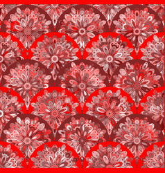 seamless pattern with red circle kaleidoscope vector image vector image