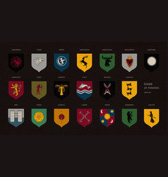set of heraldic symbols or logos of various game vector image vector image