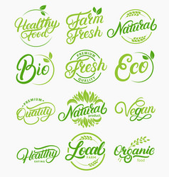 set of organic local fresh healthy lettering vector image vector image