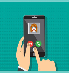 smart phone on hand with incoming call from girl vector image