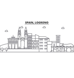 Spain logrono architecture line skyline vector