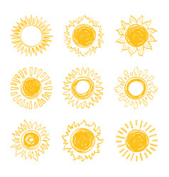 sun icons collection sunshine symbols hand drawn vector image vector image