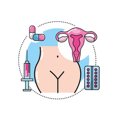 Uterine cancer with medicine treatment to care the vector