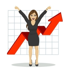 Young business woman with arms raised vector