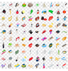 100 show icons set isometric 3d style vector