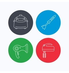 Multicooker hair-dryer and blender icons vector