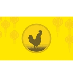 Background of rooster and lanterns vector