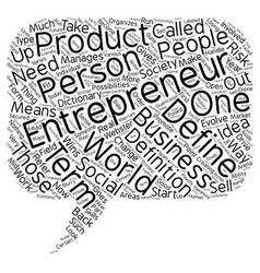 define entrepreneur text background wordcloud vector image