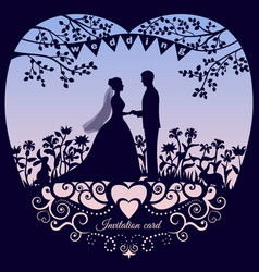 wedding romantic invitation card with silhouette vector image