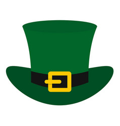 Green top hat with buckle icon isolated vector
