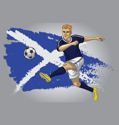 scotland soccer player with flag as a background vector image