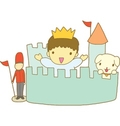 Little prince with his toy kingdom vector