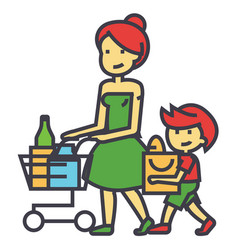 Shopping grocery mother with son and shopping vector