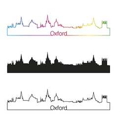 Oxford skyline linear style with rainbow vector