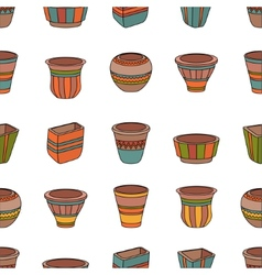 Seamless pattern with clay flower pots vector