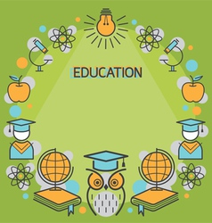 Education linear icons frame vector