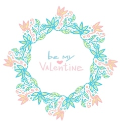Valentines day decoration cute floral frame in vector