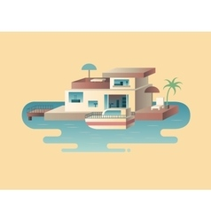 House on water with yacht vector