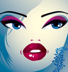 Coquette woman eyes and lips stylish makeup and vector
