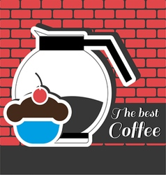 A jar of coffee with a blue cake with red cherry o vector