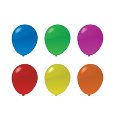 Six colorful balloons vector
