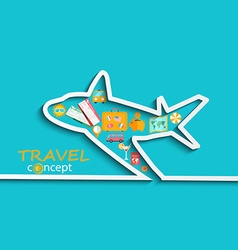Concept of travelling by plane vector