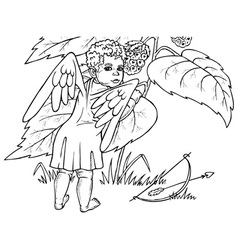 angel and berry vector image vector image