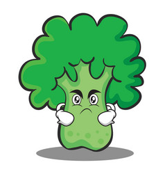 angry broccoli chracter cartoon style vector image