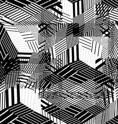 Black and white abstract textured geometric vector image vector image