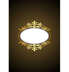 brown vintage frame with gold ornament vector image vector image