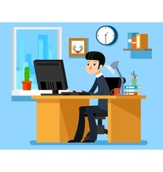 Businessman working office at the desk with vector image