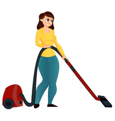 cartoon girl with a vacuum cleaner vector image