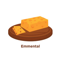 Cheese emmental sort flat isolated slice vector