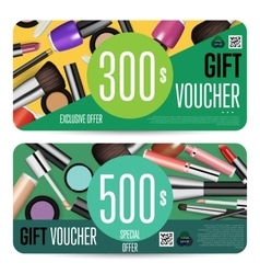 Cosmetics Gift Vouchers with Prepaid Sum Template vector image vector image