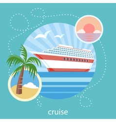 Cruise ship and clear blue water Water tourism vector image vector image