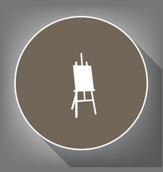 easel sign white icon on brown circle vector image
