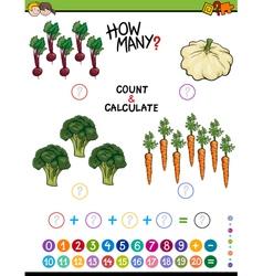 Educational addition worksheet for kids vector