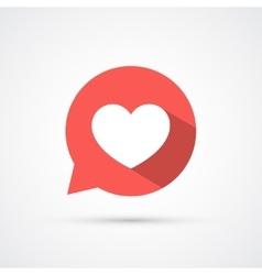 Flat heart in speech bubble shadow icon vector image