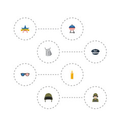 Flat icons hat military man identity and other vector