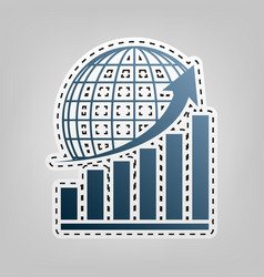 Growing graph with earth blue icon with vector