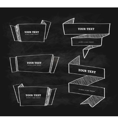 Hand-drawn origami banner chalkboard vector