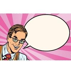 Happy man with glasses pop art retro vector image