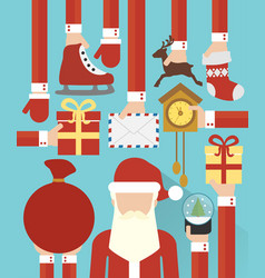 happy new year concept flat design with santa vector image