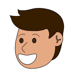 Happy young men face cartoon vector