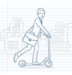 Man riding on scooter vector
