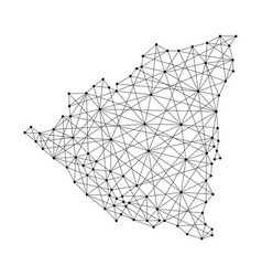 Map of nicaragua from polygonal black lines vector