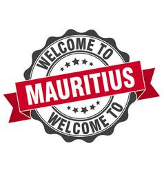 Mauritius round ribbon seal vector