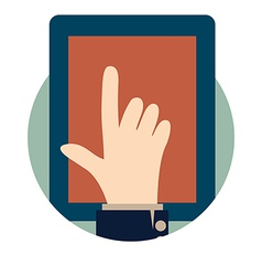 Modern tablet with hand vector image vector image