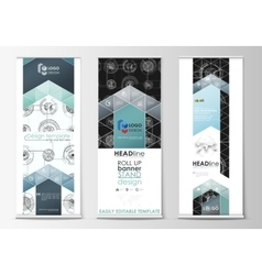 Roll up banner stands flat templates geometric vector image