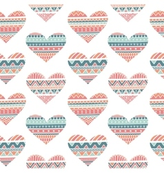 Seamless Pattern with Hearts in Ethnic Style vector image
